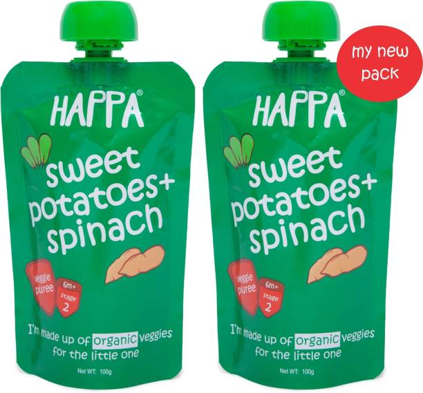 Happa Organic Sweet Potatoes And Spinach Veggie Puree, baby food, anti-bacterial neem wood comb for infants, kids&baby Cereal