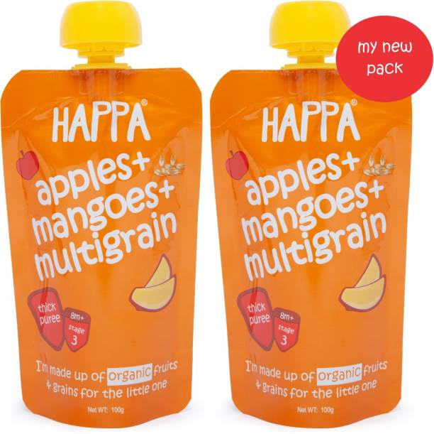 Happa Organic Apples Mangoes And Multigrain Fruit And Grain Puree, baby food Cereal