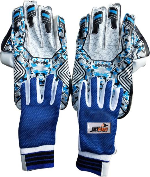 JetFire Spider Wicket Keeping Gloves Combo With Inner Gloves (Men, Blue) Wicket Keeping Gloves