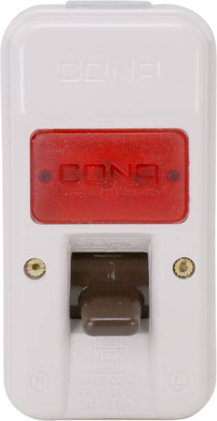 CONA 2406 ISI Mark Gold Deluxe Surface D.P. Switch 32 Amperes with Indicator- 240V Milky White Heavy Duty Switch Unbreakable Surface D.P. Switch 1  Socket Extension Boards