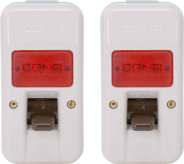 CONA 2406 ISI Mark Gold Deluxe Surface D.P. Switch 32 Amperes with Indicator- Pack of 2 240V Milky White Heavy Duty Switch Unbreakable Surface D.P. Switch 2  Socket Extension Boards