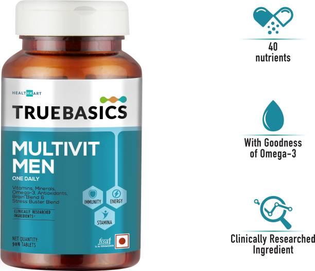 TrueBasics Multivit Men One Daily, Multivitamins, Multiminerals, Omega-3