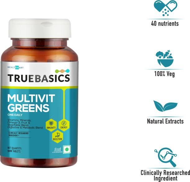 TrueBasics Multivit Greens One Daily, Multivitamins, Multiminerals, Omega-3, Anti-Oxidants