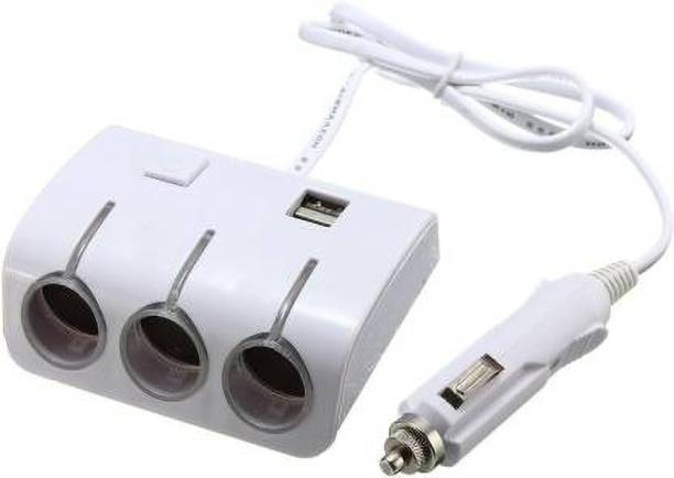 AutoRight Socket Dual USB 3 Ports Car Cigarette Lighter Socket Splitter Charger 12V Car Cigarette Lighter