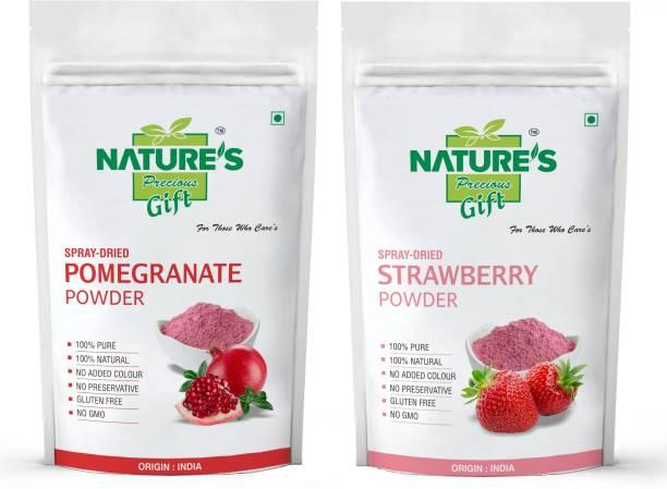 Nature's Precious Gift Pomegranate Powder & Strawberry Powder - 500 GM Each Combo Pack