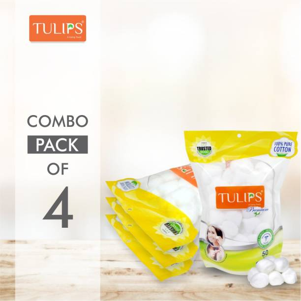 Tulips 50 Premium Cotton Ball in a Ziplock bag (Pack of 4)
