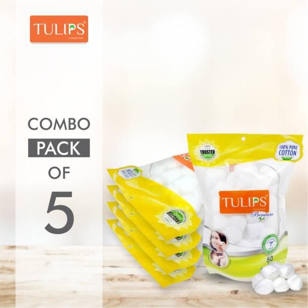 Tulips 50 Premium Cotton Ball in a Ziplock bag (Pack of 5)
