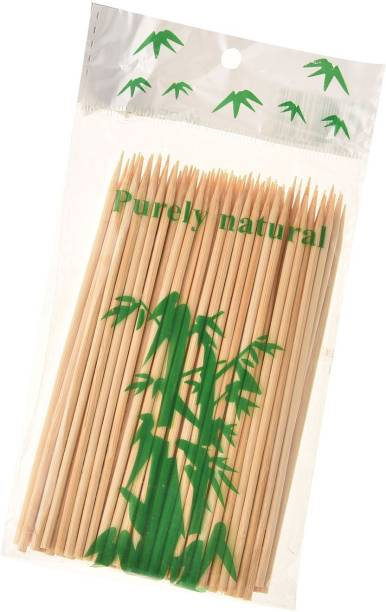 aaradhyacollection kebab stick, roast stick, Bamboo Skewers Chocolate Fountain Wooden Fruits BARBECUE Kebab Stick Party Buffet Food Disposable Wooden Roast Fork Set (Pack of 100) Disposable Bamboo Roast Fork Disposable Bamboo Roast Fork Set