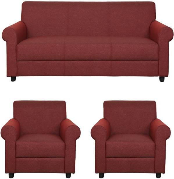 WESTIDO Godrejj Fabric 3 + 1 + 1 Maroon Sofa Set