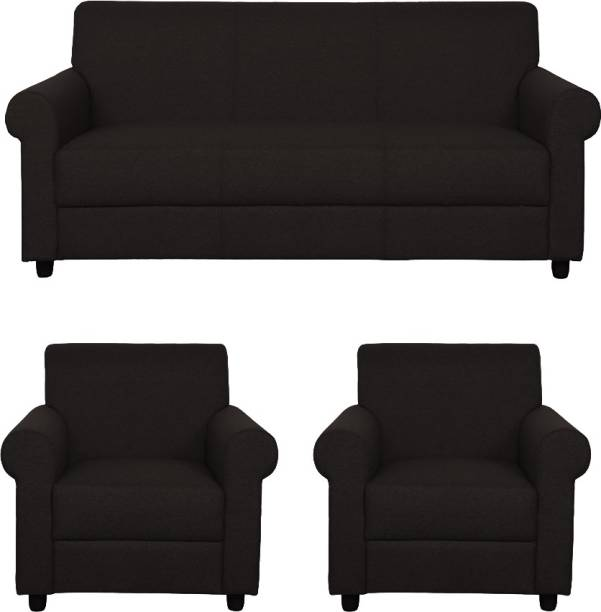 WESTIDO Santiago Fabric 3 + 1 + 1 Black Sofa Set