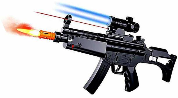 KT BROTHERS Kids Pretend Play MP5 Battery Operated Musical Gun Toy with Light and Smoking Effects Guns & Darts
