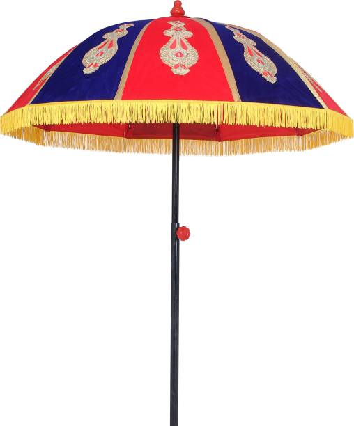 Akshar Tabla Mart Rajwadi Umbrella, 5 fit Diameter ,Red Blue Design Umbrella