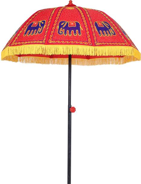 Akshar Tabla Mart Rajwadi Umbrella, 5 fit Diameter ,Elephant Design Umbrella