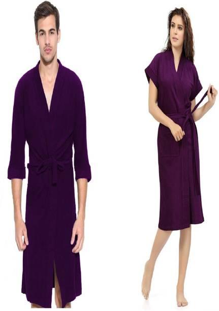 ELEVANTO Purple Free Size Bath Robe