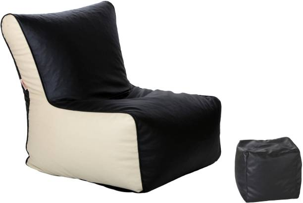 ComfyBean XXL Footrest Cream Bean Bag Chair  With Bean Filling