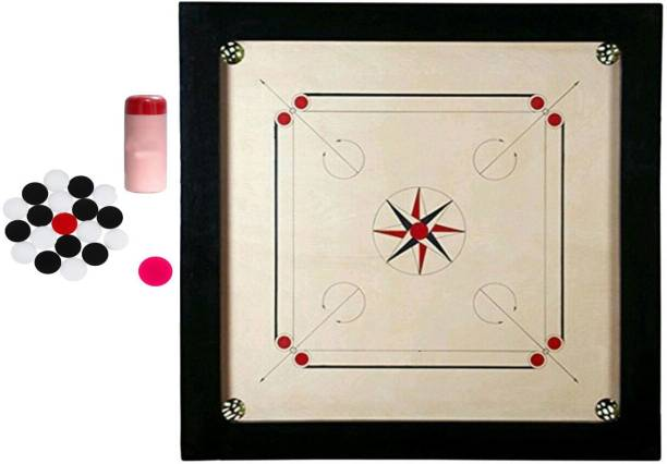 KCRT Carrom Board 20 inch With Power coin 4mm,sticker, Pouder Board Game Carrom Board Board Game