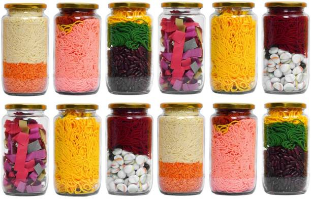 HISTOWX Glass Jar with Air Tight Gold Lid for Kitchen Dried Masla Storage Jar,Honey Jar,Jar and Container,Spice Masala Jar,Glass,Visible Glass Jar for Kitchen Storage Set of (12)  - 1000 ml Glass Grocery Container