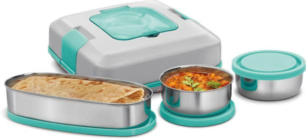 MILTON FLATRON ELECTRIC TIFFIN Stainless Steel Spill-Proof Lunch Pack 3 Containers Lunch Box