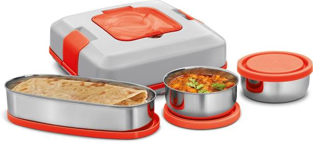 MILTON FLATRON ELECTRIC TIFFIN Stainless Steel Spill-Proof Lunch Pack 2 Containers Lunch Box