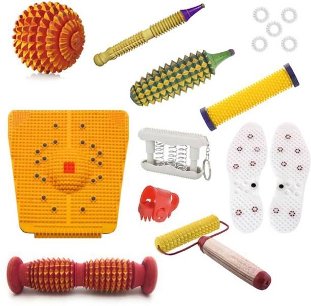 Deltakart DK34 Acupressure Massager Tools Combo Kit for Stress and Pain Relief with Foot Roller (Pyramidal cuts)(Wooden) Massager