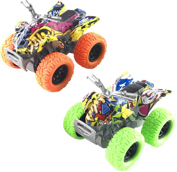 Miss & Chief 2 pack Friction Powered Monster Rock Cars with rubber tyres