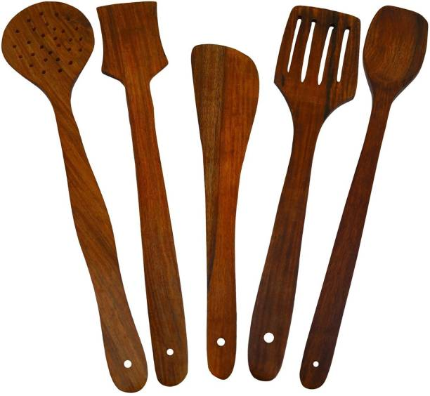 CLASSIC SHOPPE Wooden Serving and Cooking Spoon Kitchen Utensil Set of 5 Wood Cooking Spoon Set