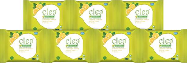 Clea Cleansing & Makeup Remover Wipes (Lemon,Tulsi) (pack of 7) (8's wipes in each pack) Makeup Remover