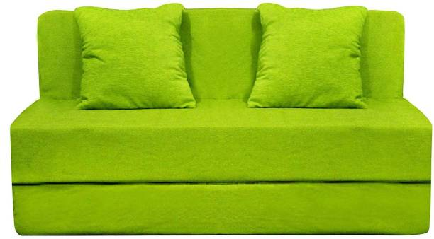 Aart Store High-Density Foam Sofa Cums Bed Furniture Two Seater 4x6 Feet with Two Cushion Green Single Sofa Bed