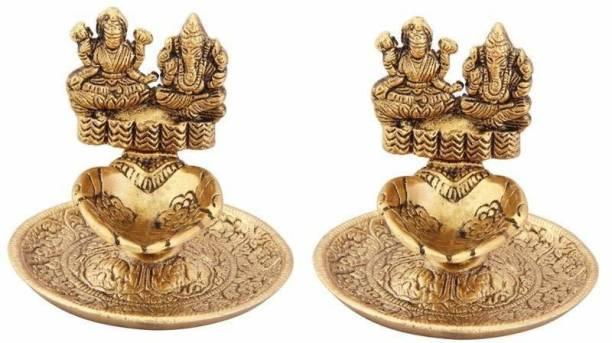 WELLWISHERS CRAFT Laxmi Ganesh Diya For PoojaTable Set(pack of 2) Aluminium (Pack of 2) Table Diya Set