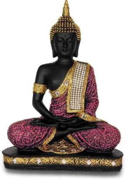 GW Creations Graceful Meditating Blessing Beautiful Marble Finishing Buddha Decorative Showpiece  -  24 cm