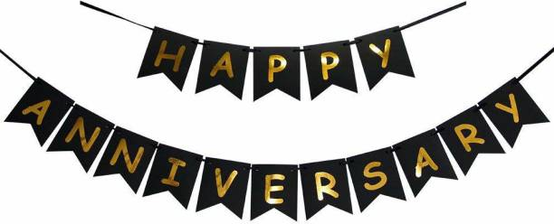 PartyballoonsHK Happy Anniversary Banner Bunting Flag for Anniversary Party Decoration (Black) Banner
