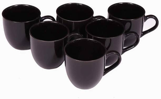 Jrp Mart Pack of 6 Ceramic Ceramic Gloss Finish Tea and Coffee Cups
