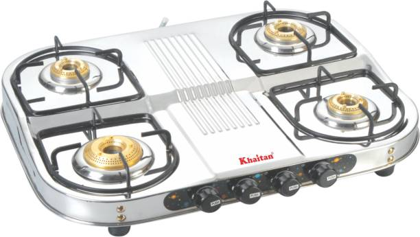 Khaitan 4 Burner Draw Double Decker (with party cooking burner) Stainless Steel Manual Gas Stove