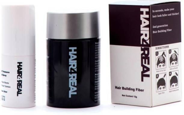 Hair4Real Hair Building Concealer Fibres12g Black with 30ml Hair Locking Spray BLACK12G_LOCSPRAY Extreme Hair Volumizer Hair FIber