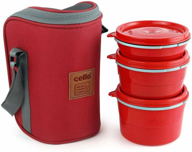 cello Max Fresh Hot Wave Lunch Box Inner Steel, Red, (Capacity - 225ml, 375ml & 550ml) 3 Containers Lunch Box