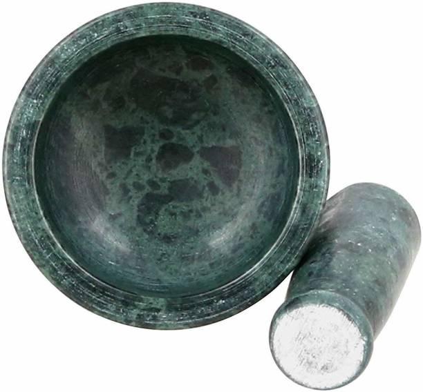 Dream Product Studio Green Marble Imam Dasta/Mortar and Pestle Set/Ohkli Musal Marble Masher