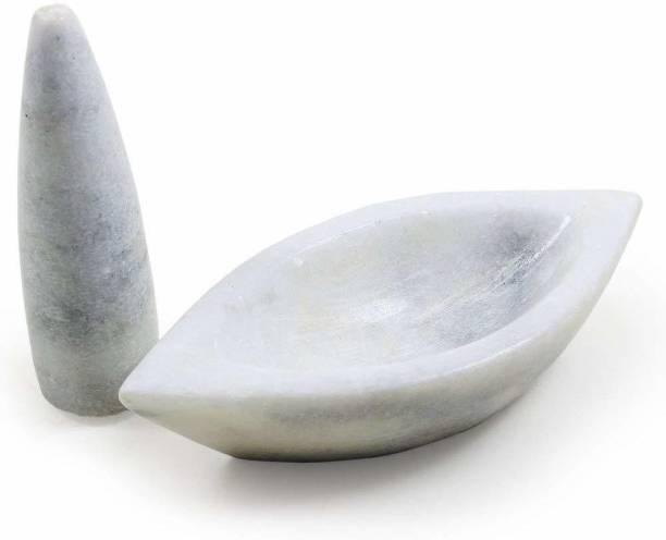 Nupremo White Marble Imam Dasta/Mortar and Pestle Set/Ohkli Musal Marble Masher