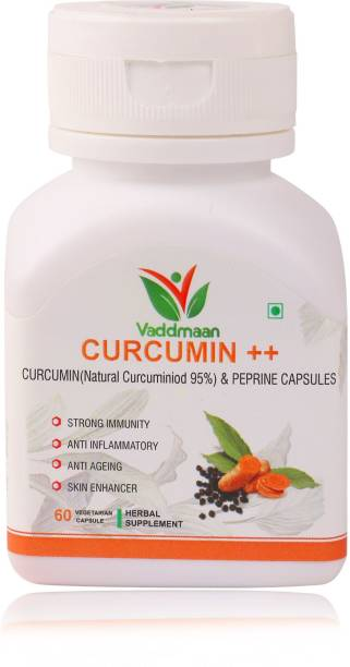 vaddmaan Natural Strong Immunity Curcumin++ with Piperine Extract, 95% Curcuminoids (1000 mg/serve) supplement for immune, Brain, cardiovascular