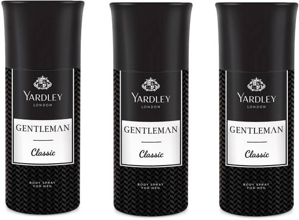 Yardley London Men Gentleman Classic 150ML Each (Pack of 3) Body Spray  -  For Men