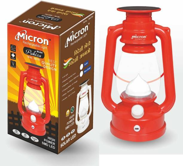 Micron 12 Hi-Bright LED With Night Lamp Rechargeable Solar Laltern Lantern Emergency Light