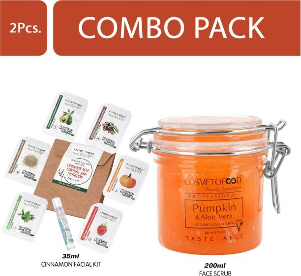 Cosmetofood Professional Combo Of Pumpkin & Aloe Vera Enzyme Skin Polisher Face Scrub With Cinnamon Facial Kit, 235 mL