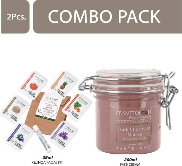 Cosmetofood Professional Combo Of Dark Chocolate Mousse Hydrating Face Cream With Quinoa Facial Kit, 235 mL