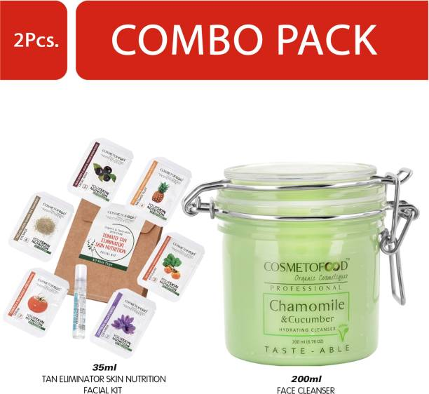 Cosmetofood Professional Combo Of Chamomile & Cucumber Hydrating Face Cleanser With Tomato Facial Kit, 235 mL