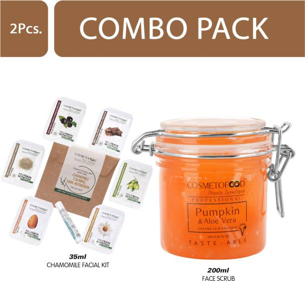 Cosmetofood Professional Combo Of Pumpkin & Aloe Vera Enzyme Skin Polisher Face Scrub With Chamomile Facial Kit, 235 mL