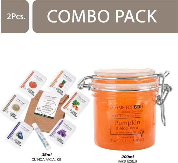 Cosmetofood Professional Combo Of Pumpkin & Aloe Vera Enzyme Skin Polisher Face Scrub With Quinoa Facial Kit, 235 mL