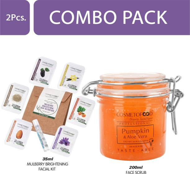 Cosmetofood Professional Combo Of Pumpkin & Aloe Vera Enzyme Skin Polisher Face Scrub With Mulberry Facial Kit, 235 mL
