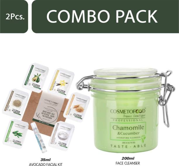 Cosmetofood Professional Combo Of Chamomile & Cucumber Hydrating Face Cleanser With Avocado Facial Kit, 235 mL