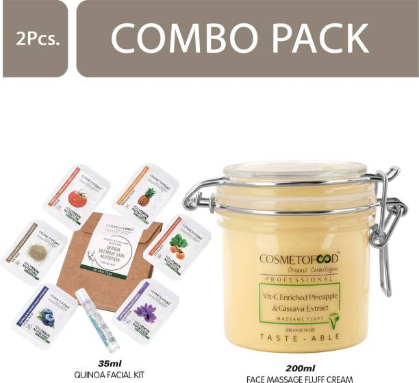 Cosmetofood Professional Combo Of Vit- C Enriched Pineapple & Cassava Extract Face Massage Fluff Cream With Quinoa Facial Kit, 235 mL