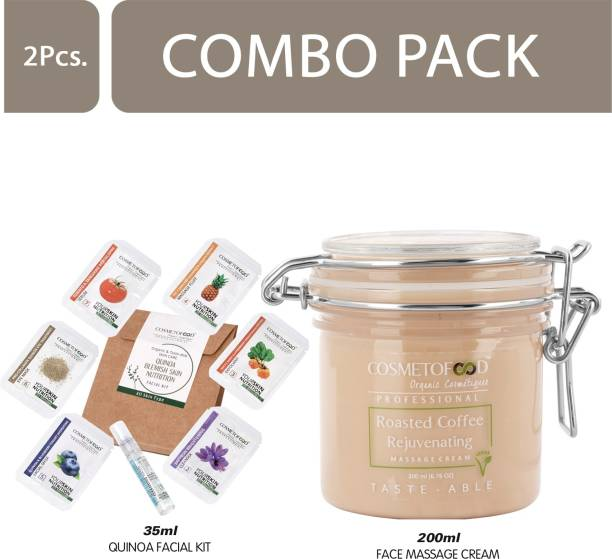 Cosmetofood Professional Combo Of Roasted Coffee Rejuvenating Face Massage Cream With Quinoa Facial Kit, 235 mL