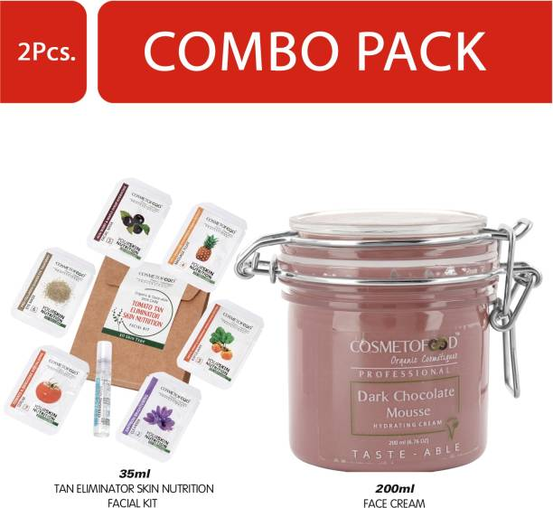Cosmetofood Professional Combo Of Dark Chocolate Mousse Hydrating Face Cream With Tomato Facial Kit, 235 mL
